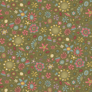 Garden Whimsy - Small Floral Toss Green fabric