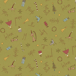 Christmas Characters on Green fabric