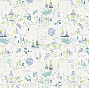 Neverland - Teepees and arrows on Cream fabric