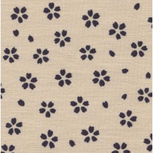 Japanese Textured Woven Fat 1/4 - Indigo Flowers
