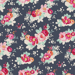 Tilda - Memory Lane - Flowercloud Dark Slate fat 1/4