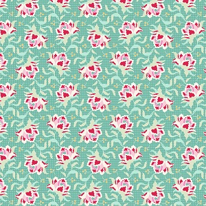 Tilda Circus Clown Flower Teal fabric
