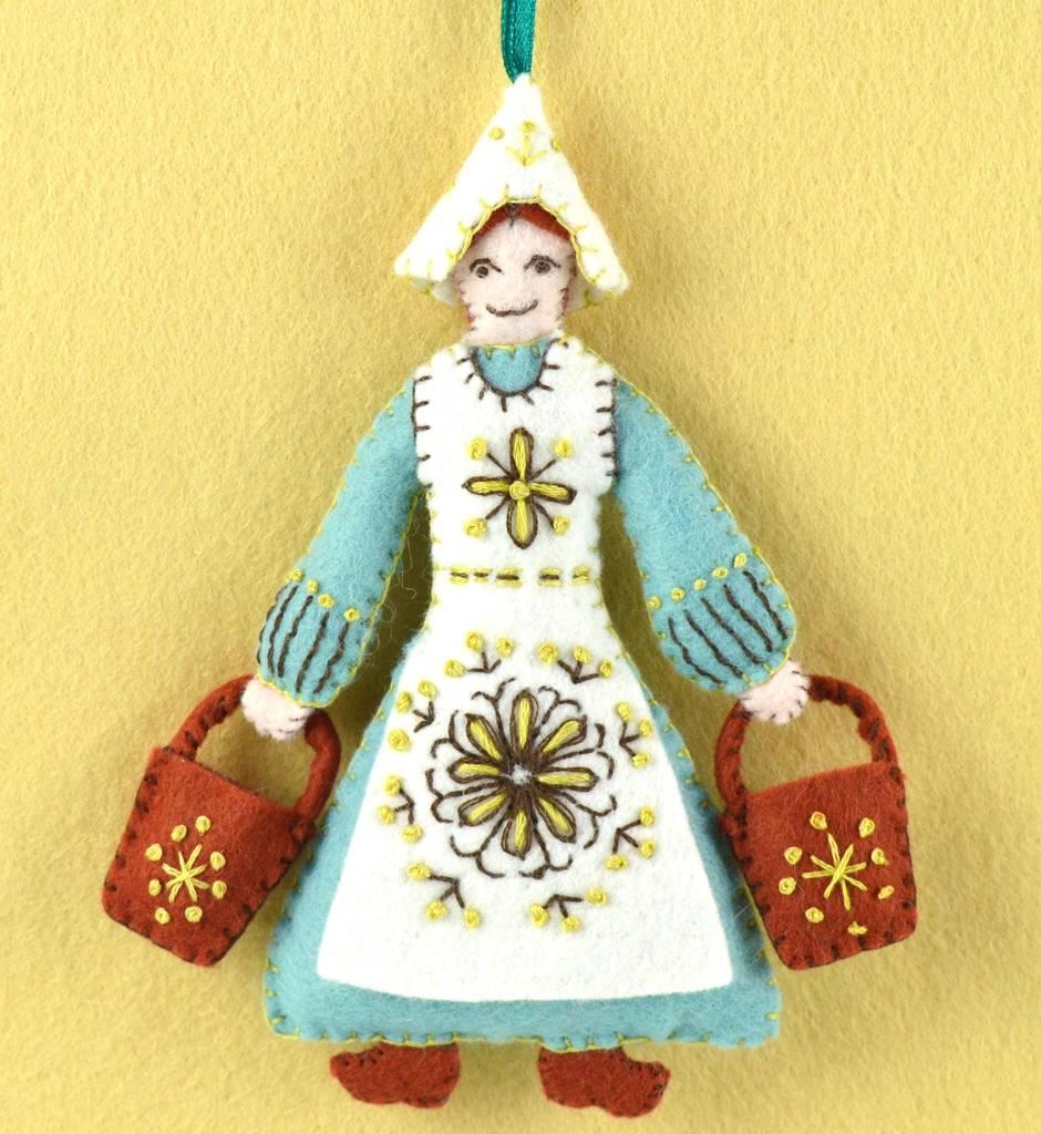Twelve Days Of Christmas Felt Ornaments.Mini Maid A Milking Felt Kit 12 Days Of Christmas