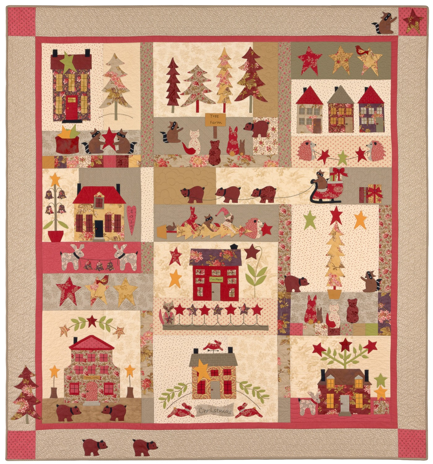 Christmas Quilt Patterns.A Woodland Christmas Block Of The Month By Bunny Hill