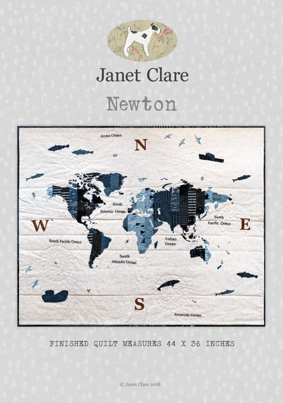 World Map Quilt Pattern.Newton Quilt Pattern By Janet Clare Coast Country