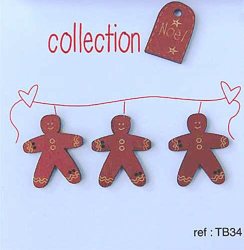 Wooden Hand Painted Gingerbread Men Tag Buttons