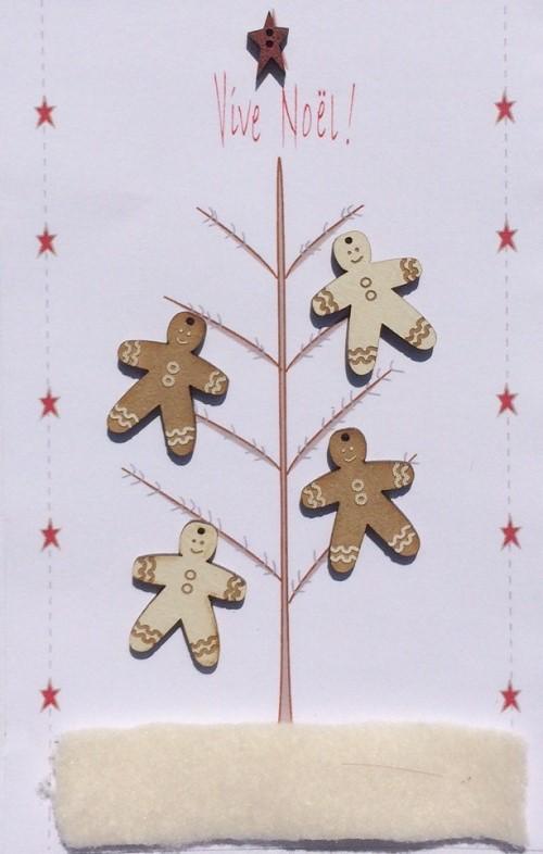 Wooden Hand Painted Cream Beige Gingerbread Men Buttons