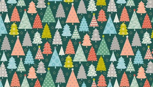 Christmas Fabric 2019.Merry Christmas Fabric Trees