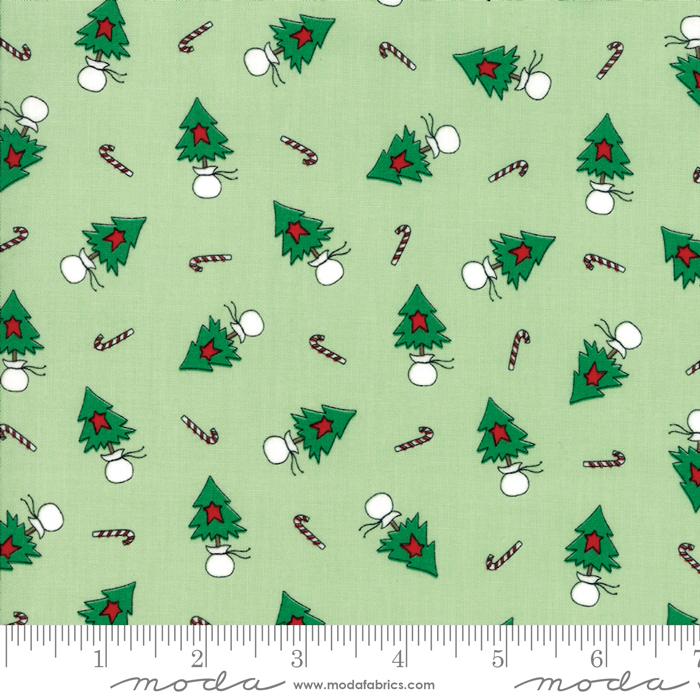 Moda Christmas Fabric 2019.Merry Merry Snow Days Christmas Trees Spearmint Fabric