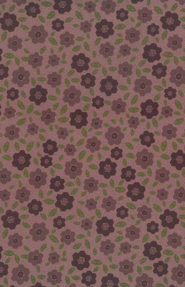 Per 1//4 Metre Lynette Anderson Fabric Peacock Manor Brown Flowers