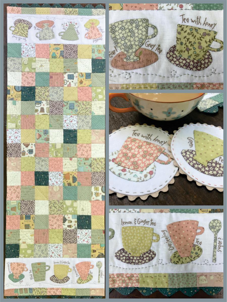 Tea Time Table Runner Mug Rug Fabric Kit Coast Country