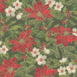 Poinsettias & Pine Fabric & FQ - SALE
